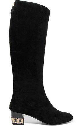 CASADEI Embellished suede knee boots