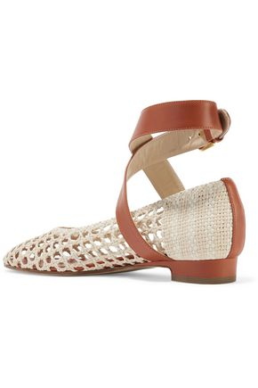 PAUL ANDREW Woven leather point-toe flats