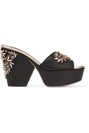 RENE' CAOVILLA Embellished snake and leather platform sandals