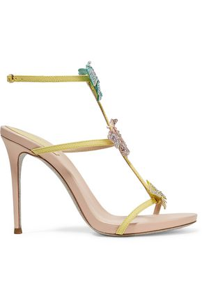 RENE' CAOVILLA Embellished appliquéd snake and leather sandals
