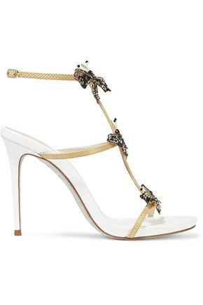 RENE' CAOVILLA Crystal and bead-embellished metallic snake and leather sandals