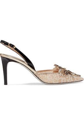 RENE' CAOVILLA Embellished corded lace pumps