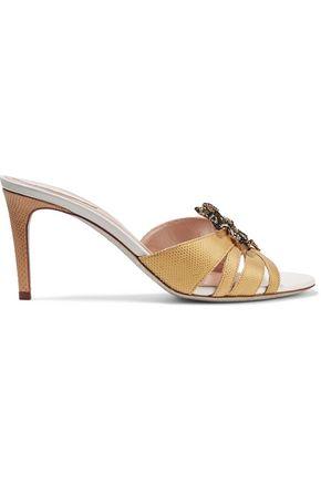 RENE' CAOVILLA Embellished appliquéd snake and leather sandals