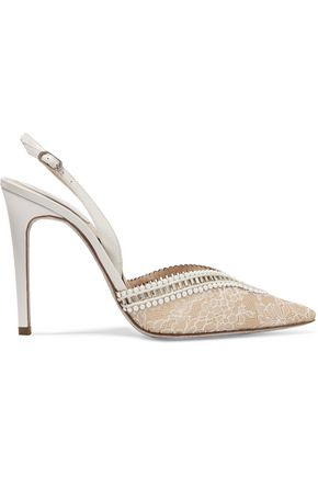 RENE' CAOVILLA Leather-trimmed embellished lace slingback sandals