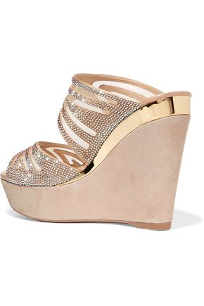 ... RENE' CAOVILLA Embellished mesh and suede wedge sandals