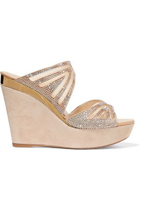 RENE' CAOVILLA Embellished mesh and suede wedge sandals