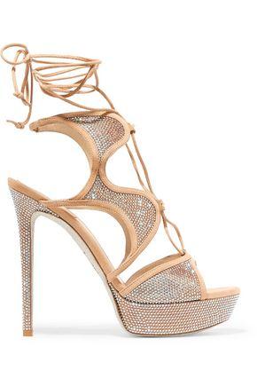 RENE' CAOVILLA Embellished suede sandals