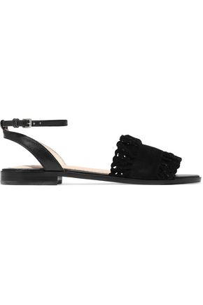 MAJE Faith leather and laser-cut suede sandals
