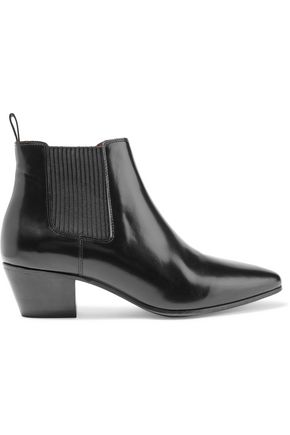 MAJE Finae glossed-leather ankle boots