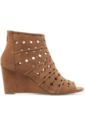 MICHAEL MICHAEL KORS Uma cutout suede wedge sandals