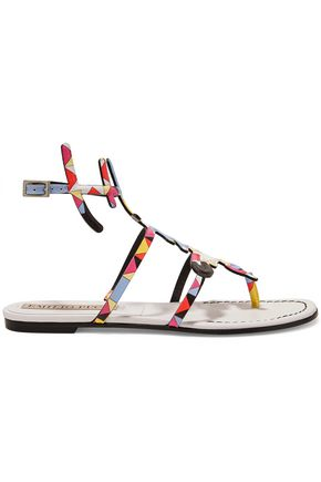 EMILIO PUCCI Printed textured-leather sandals