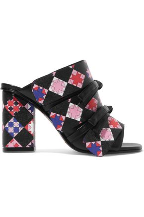 EMILIO PUCCI Bow-embellished printed leather mules