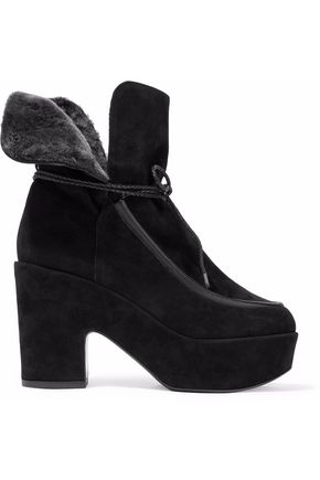 ROBERT CLERGERIE Faux fur-lined suede platform ankle boots
