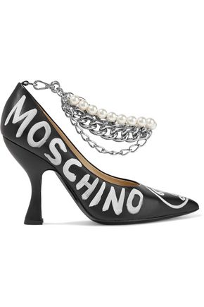 MOSCHINO Embellished printed leather pumps