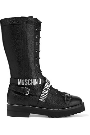 MOSCHINO Embellished textured-leather