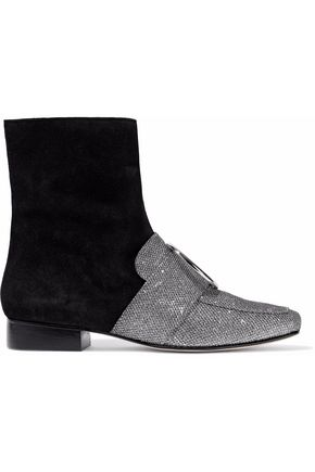 DORATEYMUR Ring-embellished glittered leather and suede ankle boots