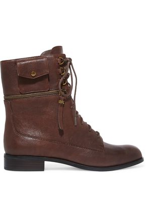 MICHAEL MICHAEL KORS Lace-up zip-detailed leather ankle boots