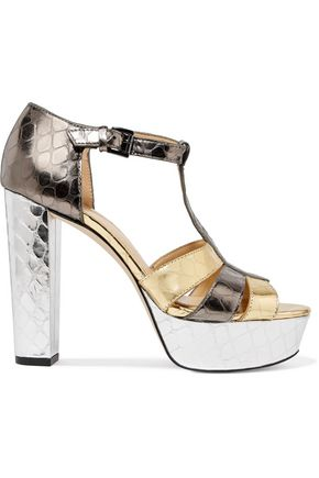 MICHAEL MICHAEL KORS Mercer metallic textured-leather platform sandals
