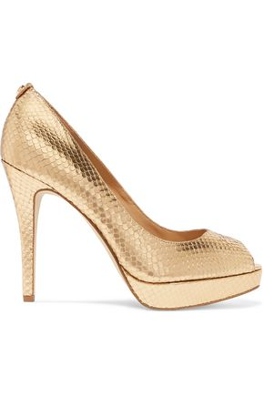 MICHAEL MICHAEL KORS York snake-effect leather platform pumps