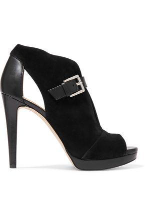 MICHAEL MICHAEL KORS Isabella cutout suede and leather pumps
