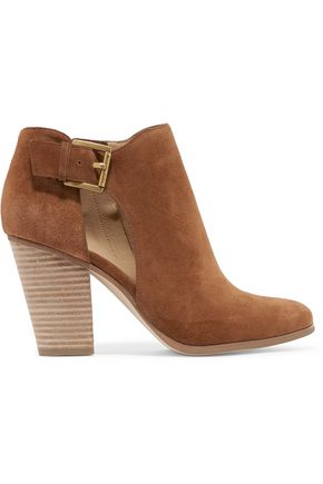 MICHAEL MICHAEL KORS Adams buckled cutout suede ankle boots