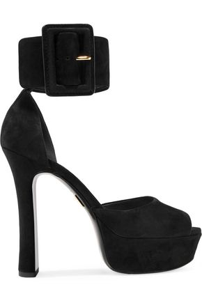 MICHAEL KORS COLLECTION Tatiana buckled suede platform sandals