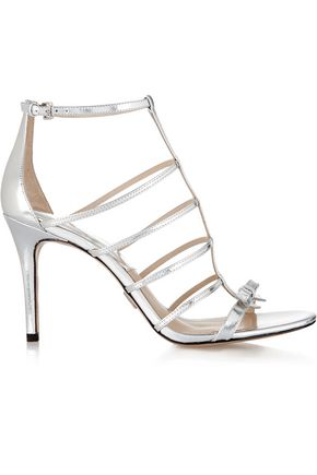 MICHAEL KORS COLLECTION Blythe bow-embellished metallic leather sandals