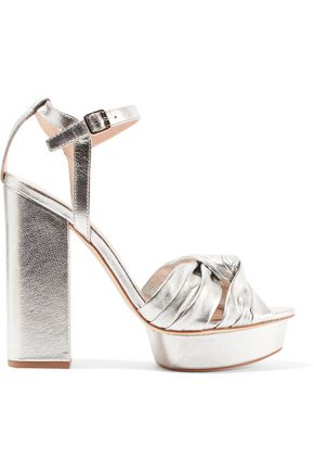 LOEFFLER RANDALL Arbella knotted metallic textured-leather platform sandals