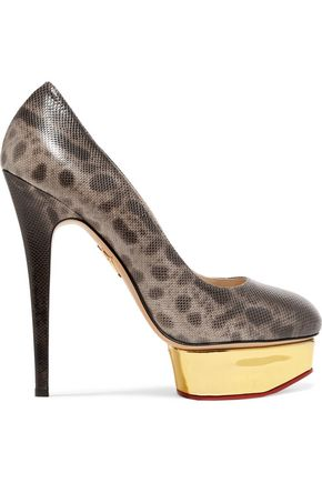 CHARLOTTE OLYMPIA Dolly snake-effect leather platform pumps