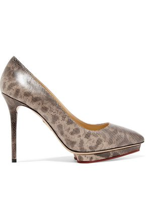 CHARLOTTE OLYMPIA Debbie snake-effect leather pumps