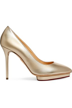 CHARLOTTE OLYMPIA Debbie metallic leather pumps