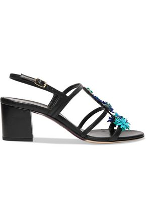 OSCAR DE LA RENTA Floral-appliquéd leather sandals