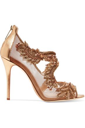 OSCAR DE LA RENTA Ambria mesh-paneled embellished metallic leather sandals
