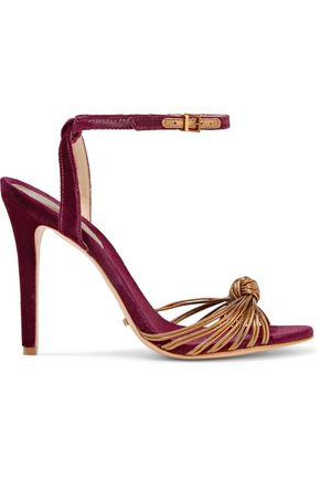 SCHUTZ Noa knotted leather and velvet sandals