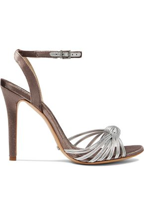 SCHUTZ Knotted metallic leather and velvet sandals