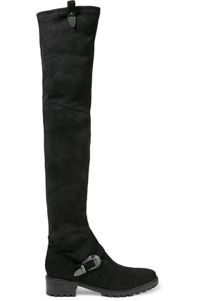 SCHUTZ Paddington buckled suede over-the-knee boots