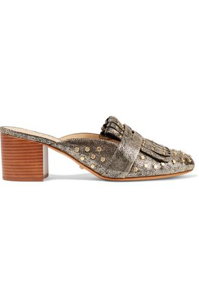SCHUTZ Pip studded metallic printed leather mules