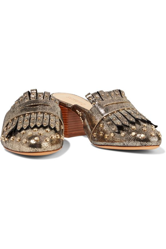 Pip studded metallic printed leather mules   SCHUTZ   Sale up to 70% off    THE OUTNET