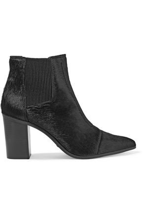 SCHUTZ Happy ribbed-paneled calf-hair ankle boots