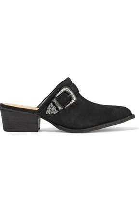 SCHUTZ Frisco buckled suede mules