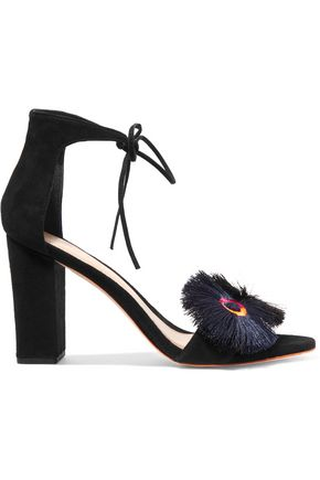 LOEFFLER RANDALL Virginia fringed and embroidered suede sandals