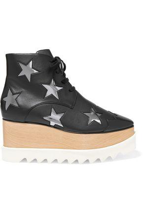 STELLA McCARTNEY Appliquéd faux leather platform ankle boots
