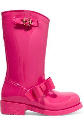 RED(V) Bow-embellished rubber rain boots