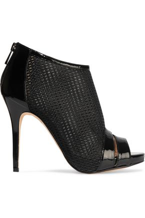 LUCY CHOI London Macbeth patent leather-trimmed mesh ankle boots