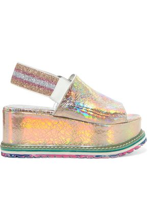 SONIA RYKIEL Iridescent cracked-leather platform sandals
