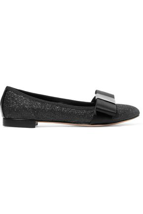 SONIA RYKIEL Bow-embellished glittered canvas ballet flats