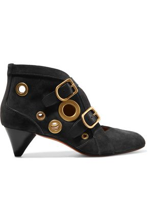 SONIA RYKIEL Leather-trimmed stud-embellished suede ankle boots