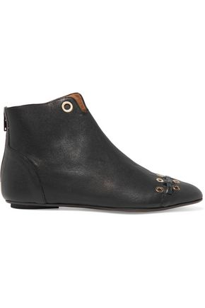 SONIA RYKIEL Eyelet-embellished leather ankle boots