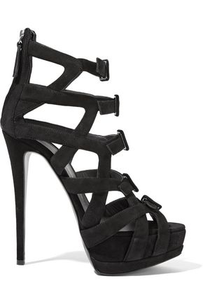 GIUSEPPE ZANOTTI DESIGN Buckled cutout suede sandals