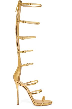 GIUSEPPE ZANOTTI DESIGN Buckled metallic leather sandals